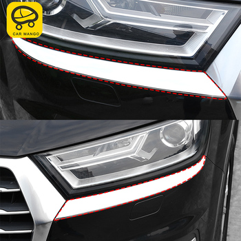 CARMANGO for Audi Q7 4M 2016-2018 Car Styling Front Headlight Decoration Cover Trim Frame Sticker Chrome Exterior Accessories