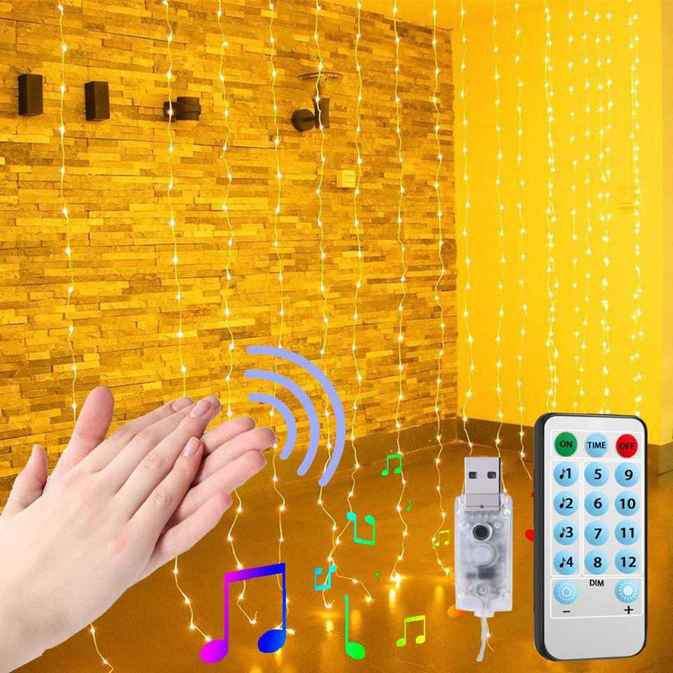 3x3Meter USB LED Window Curtain String Lights Sound Music Control Curtain Waterproof Twinkle Lights Wedding Party Decor Lights