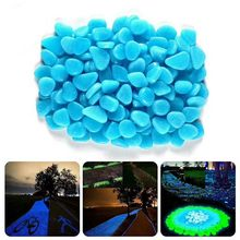 Piedras luminosas azules y verdes que brillan en la oscuridad, decoración de jardín, para carretera, pecera, decoración para acuario, 100 Uds. H1129