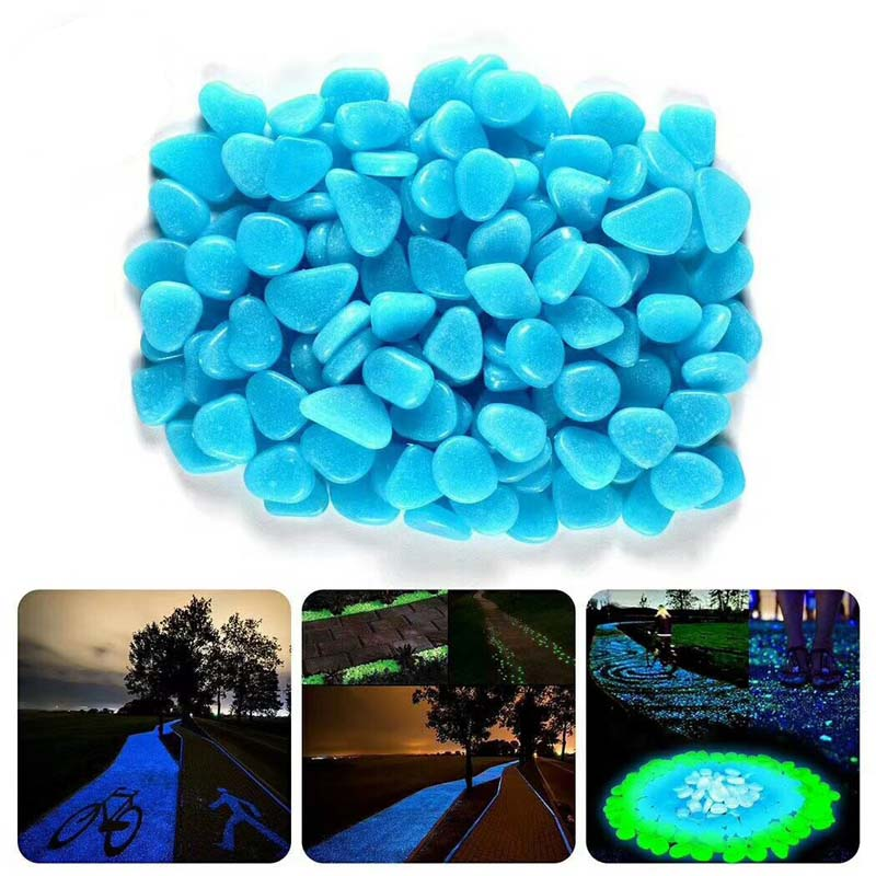 Niebieskie zielone świecące kamienie świecą w ciemności wystrój ogrodu droga zewnętrzna dekoracja akwarium Pebble Rocks akwarium 100 sztuk H1129