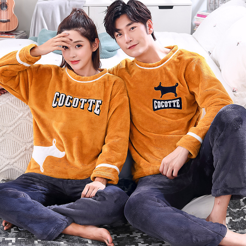 New Autumn/winter Flannel Couples Thicken Pyjamas, Long-sleeved Korean Men And Women Coral Wool Can Be Worn Outside The Home