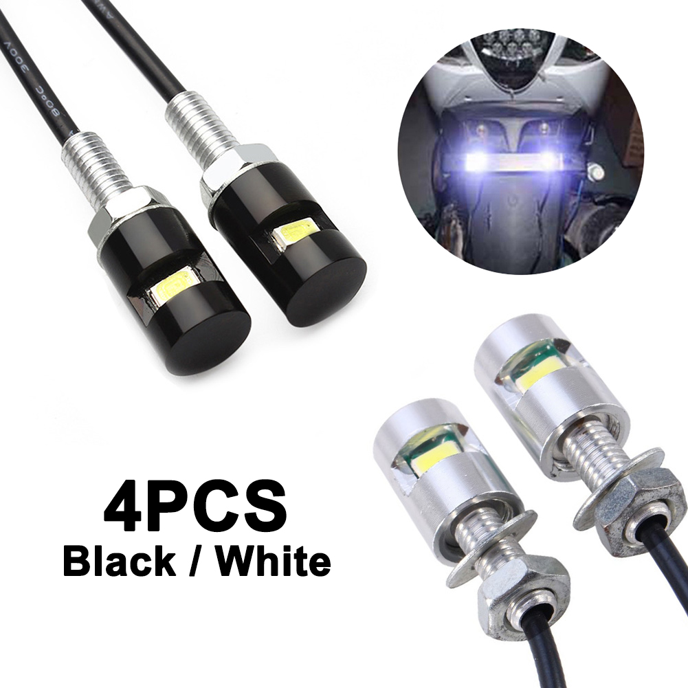 4pcs Car License Plate Lights Auto Motorcycle 12V 5630 LED Universal Styling Bulbs Screw Bolt Lamp SMD Number Light Signal Tail