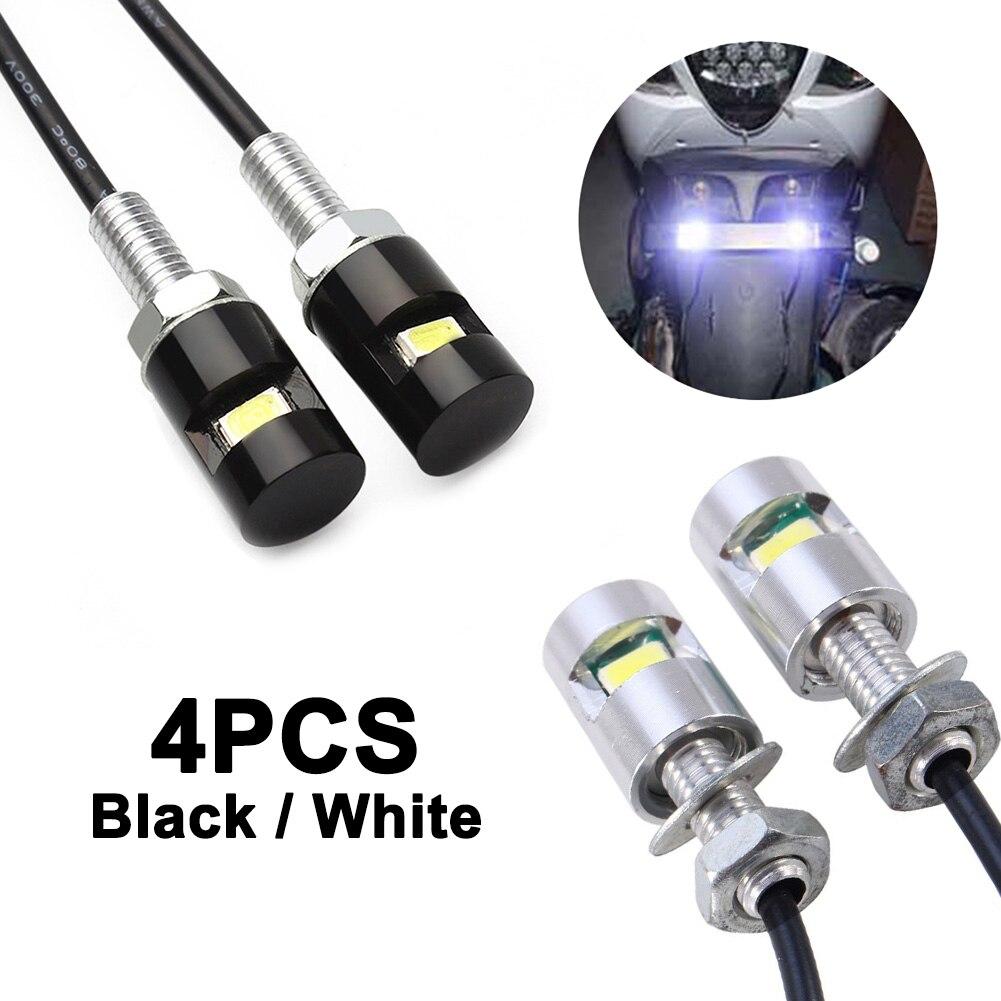 Bombillas LED de diseño Universal 4 Uds., luces de matrícula de coche, motocicletas automáticas, 12V 5630, tornillos, lámpara SMD, luz en forma de número, luz trasera de señal