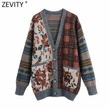 Zevity 2021 mujeres Vintage dibujo de almazuela chaquetas de ganchillo suéter señoras Retro Chic bolsillos tejer Tops Casual sueltos CT672