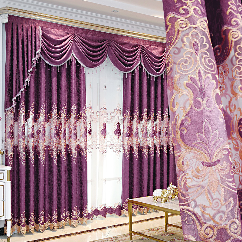 European Style Curtains for Living Dining Room Bedroom Light Luxury Purple Embroidered Curtains Finished Product Customization