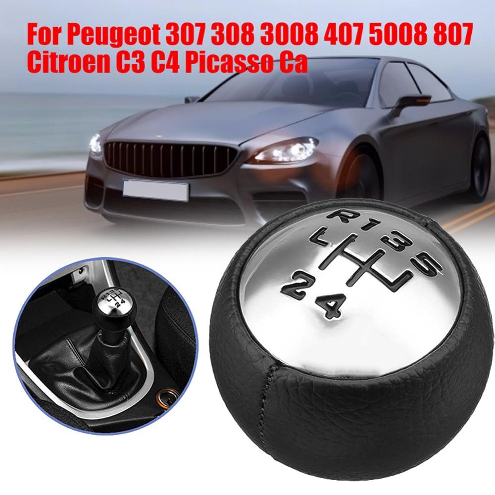 Car Styling  6 Speed Shifter Handball Stick Shifth HandBall For Peugeot 307 308 3008 407 5008 807 Partner For Citroen C3 C4 Pica