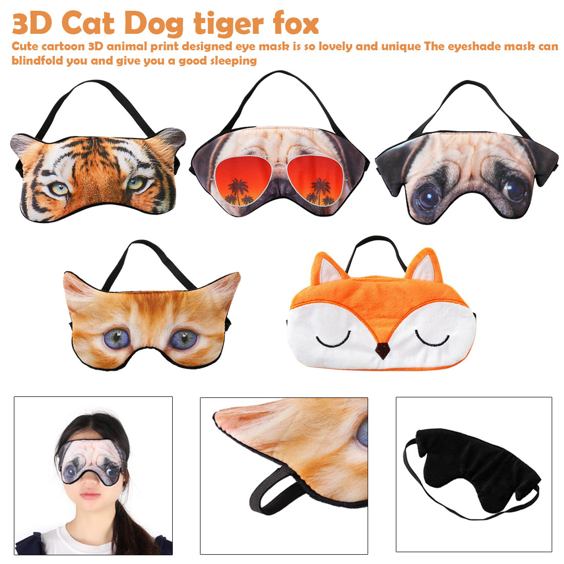 3D Cat Dog Eyes Mask Eyeshade Shading Cute Tiger Fox Sleeping Mask Eye Cover For Travel Relax Aid Blindfold Shades Party Masks