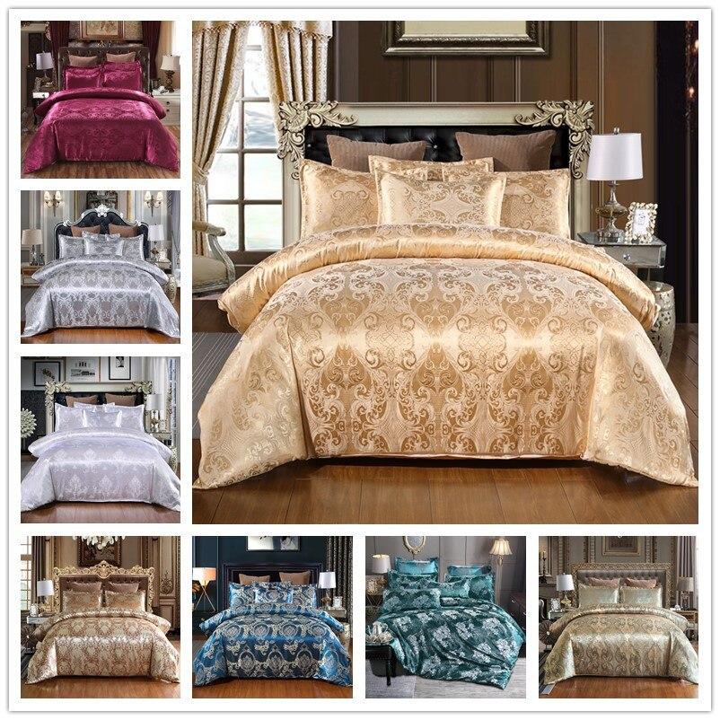 ساتان جاكار طقم سرير فاخر الصلبة النمط الأوروبي 3 قطع حاف الغطاء سادات ل الملكة سرير حجم كينج حجم 80172