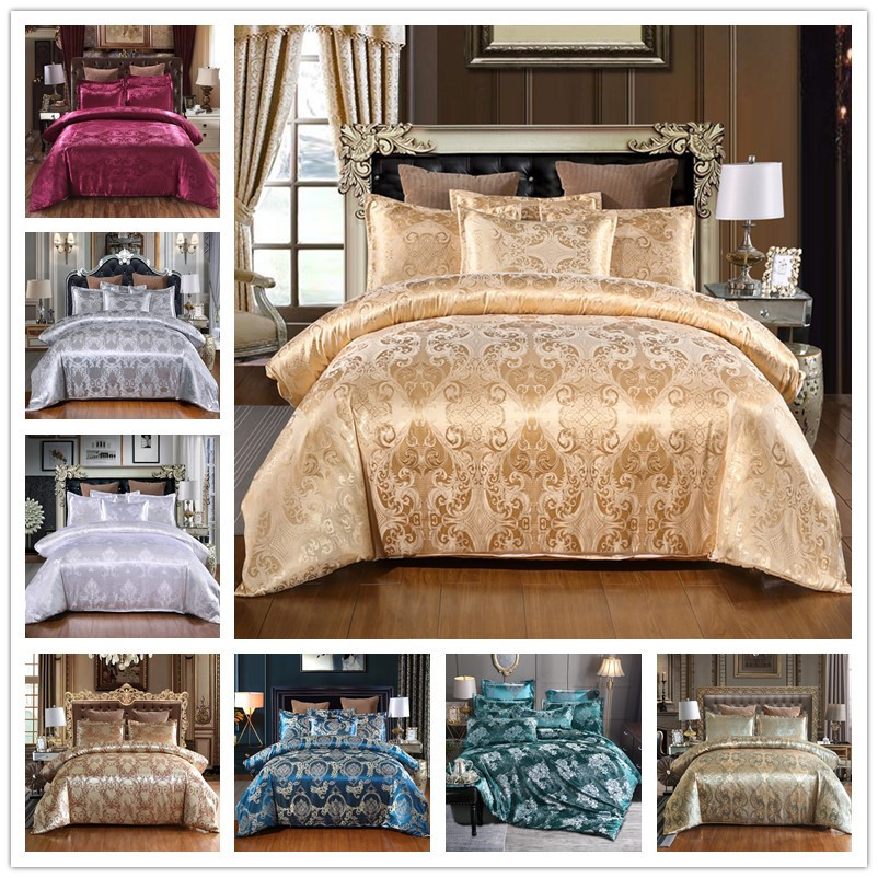 Satin Jacquard Bedding Set Luxury Solid European Style 3 Pieces Duvet Cover Pillowcases For Queen King Bed Size 80172