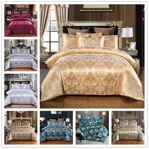Satin Jacquard Bedding Set Luxury Solid European Style 3 Pieces Duvet Cover Pillowcases for Queen King Bed Size 80172(China)
