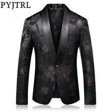 PYJTRL jakości Blazer mężczyźni luksusowy żakard czarny czerwony kwiatowy wzór przyczynowy marynarkę nocny klub piosenkarki stylowy marynarkę