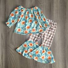 baby Girl clothes girls floral outfits girl floral raglans with bell bottom plaid pants girls fall/winter set(China)
