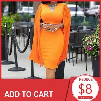 цена на Orange Elegant Cocktail Dress Scoop Neck Mermaid Knee Length Long Sleeves High Waist Night Club Evening Party Cocktail Dresses