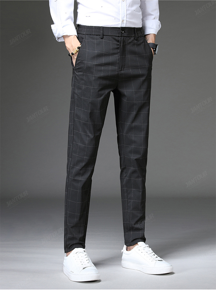 Jantour 2020 Spring New Casual Pants Men Slim Fit Plaid Fashion Gray black Trousers Male Brand Clothing business work pant 28-38 61