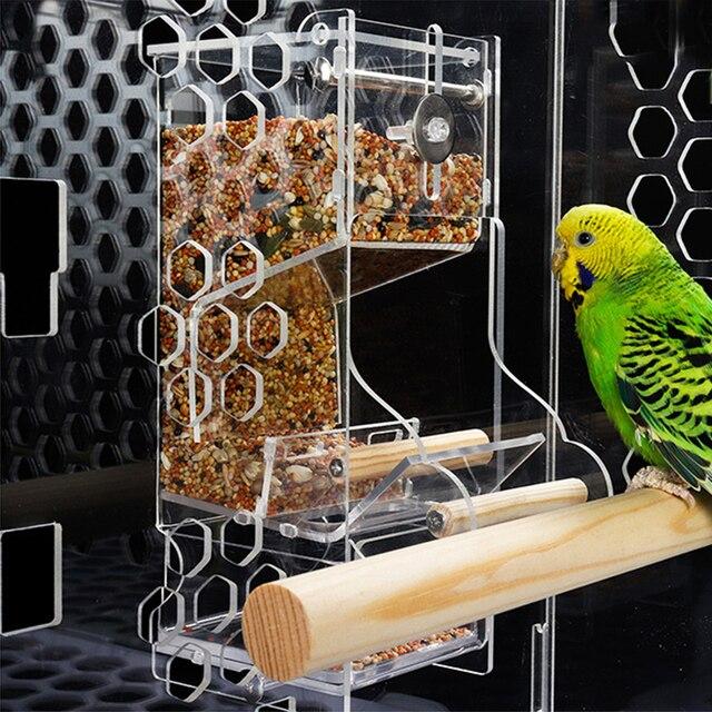 Conteneur créatif anti-éclaboussures mangeoire pour oiseaux   Dispositif dalimentation en cage pour oiseaux de compagnie, conteneur de nourriture Transparent perroquet boîte dalimentation pour oiseaux, fournitures pour oiseaux