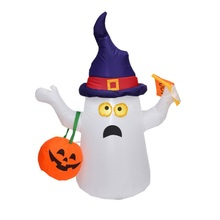 5FT Tall Ghost And Pumpkin Inflatable Halloween Decoration With LED Lights And Fan For Outdoor Indoor Home Garden Yard