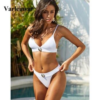 Sexy White Black Brazilian Bikini 2020 Women Swimwear Female Swimsuit Two-pieces Bikini set Bather Bathing Suit Swim Beach V1740