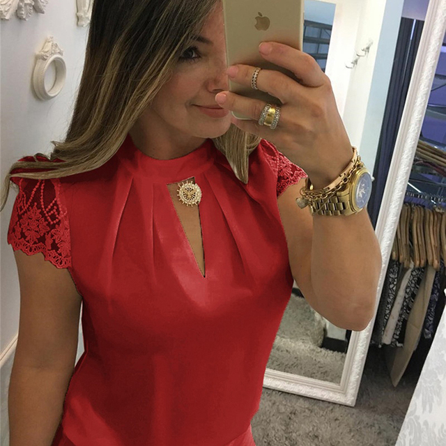 Summer Women Chiffon Blouses  Stand Collar Lace Short Sleeves Elegant Lady's Shirts Lace Patchwork Blouse Sexy Shirts 1