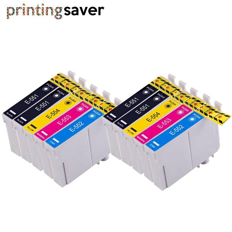 10x T0551 T0552 T0553 T0554 cartucho de tinta Compatible para Epson Stylus Photo R240 R245 RX420 RX425 RX520 impresora con tinta completa