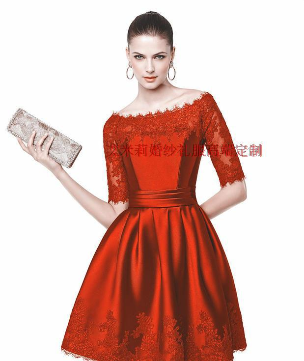 Summer Half Sleeves Sexy Boat Neck Lace Appliques Short Prom Gown 2018 New Style Custom Made Knee-length Bridesmaid Dresses