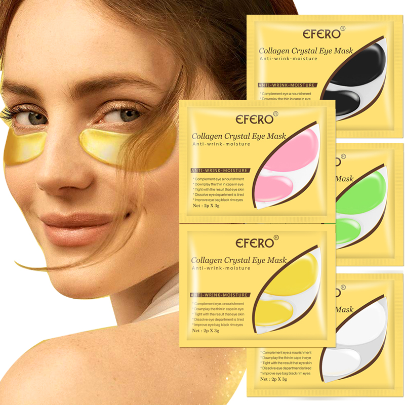 24K Gold Crystal Collagen Eye Mask Eye Patches For Eye Care Remove Dark Circles Anti-Aging Wrinkle Gel Eye Pads Sheet Eye Masks