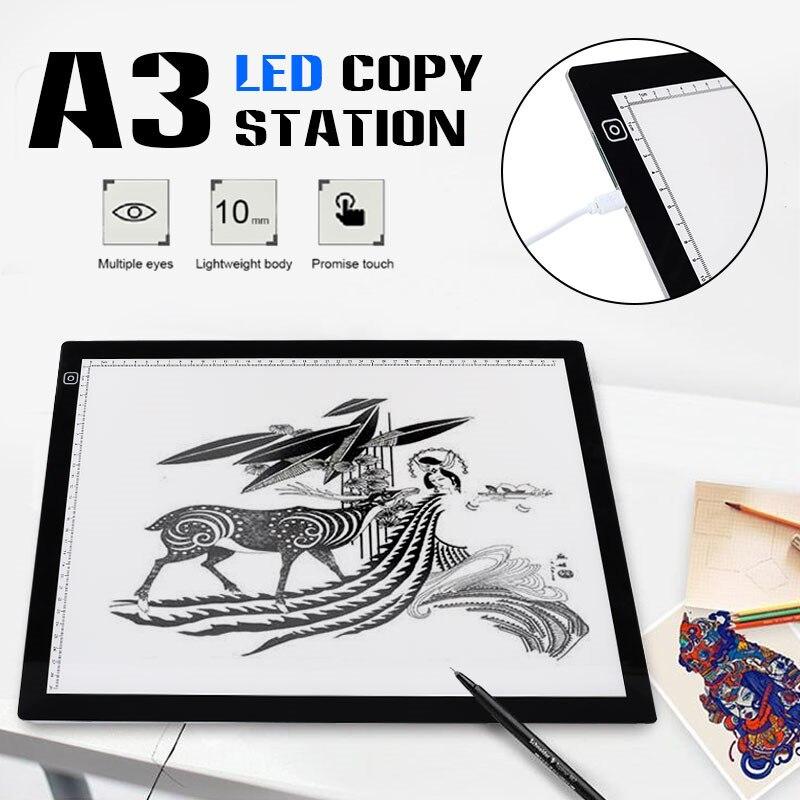 Portable A3 lumière LED Pad dessin Pad copie conseil dessin graphique tablette Table Pad panneau copie Pad avec contrôle de la luminosité
