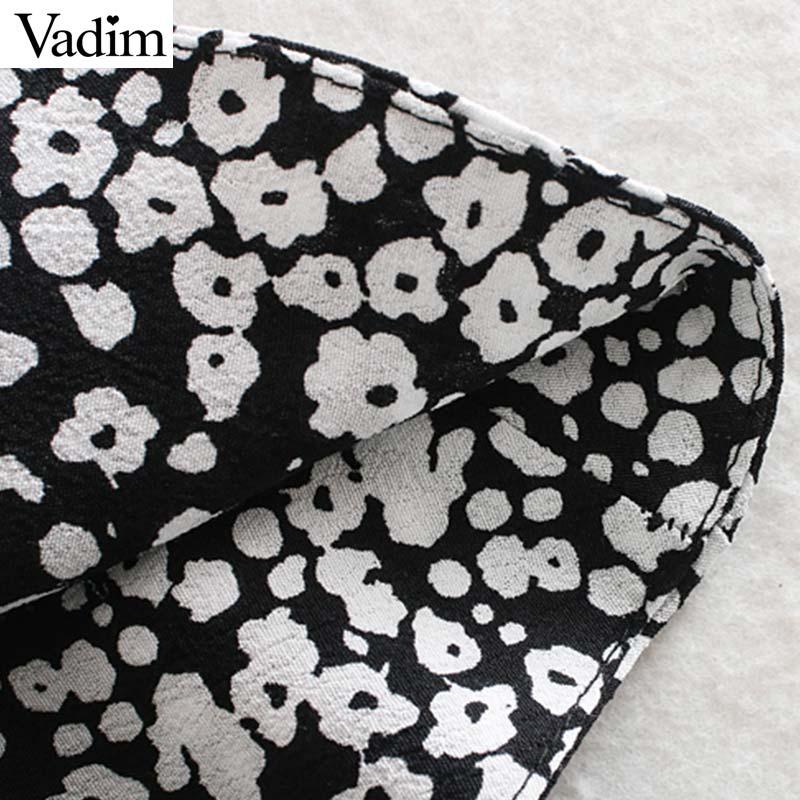 Image 5 - Vadim women sexy print ruffled mini dress side zipper three quarter sleeve pleated design female slim casual dresses QD188Dresses   -