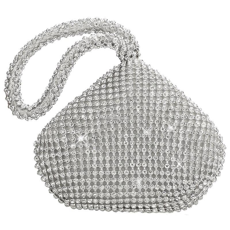 Женская мода полный дрель треугольник вечерние сумки серебро