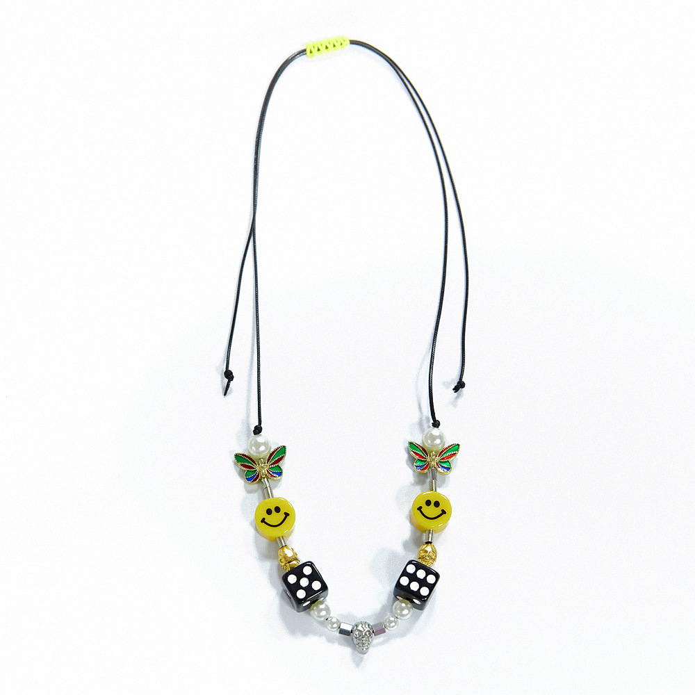 Hip Hop Charm Jewelry Geometric Pearl Smiley Skull Rope Adjustable Choker Necklaces Punk Fashion Street