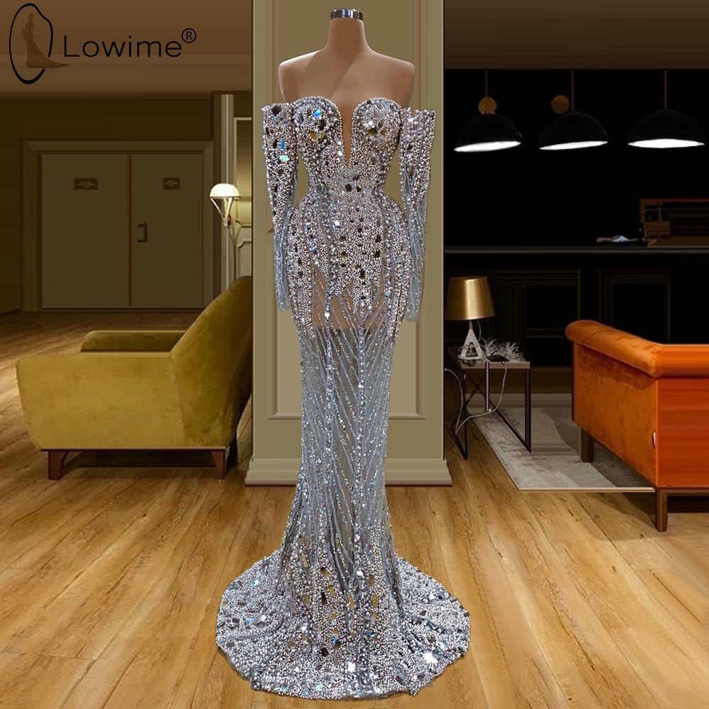 Dubai Gorgeous Long Sleeve Illusion Beaded Crystal Long Evening Dresses Mermaid Sweetheart Neck Robe De Soiree Prom Party Gowns