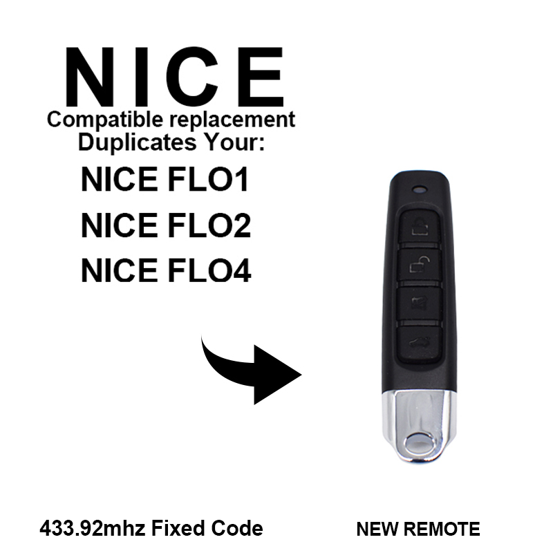 Clone NICE FLO1 FLO2 FLO4 433.92MHz Fixed Code Garage Door Remote Control Key Duplicator For Gate Control 433MHz Nice Command