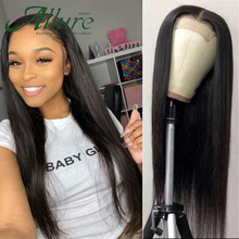 Human-Hair-Wig Full-Lace-Frontal Lace Closure Plucked Brazilian 13x4 Allure with 4x4