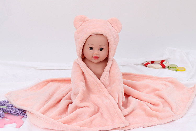 New Autumn And Winter Baby Hugs Are Covered By Coral Fleece Newborn Quilt Blasting Bear Bear Blanket Baby Stroller Blanket