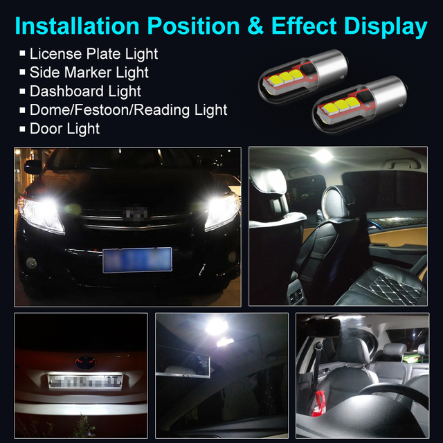 2Pcs BA9S LED BAX9S H21W BAY9s T10 W5W LED Bulbs H6W T4W Car Reverse Lights Auto Parking License Plate Interior Map Dome Lamps