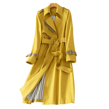 Spring Women Trench Coat 2020 New Stitching Yellow Mid Long Coat Slim Large size