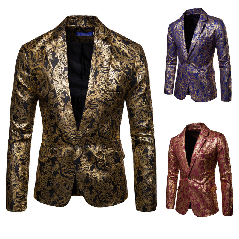 MEN'S Suit Bright Surface Bronzing Printed 2019 Luxury Gold Color Suit British Style Best Man Formal Dress Costume Men's