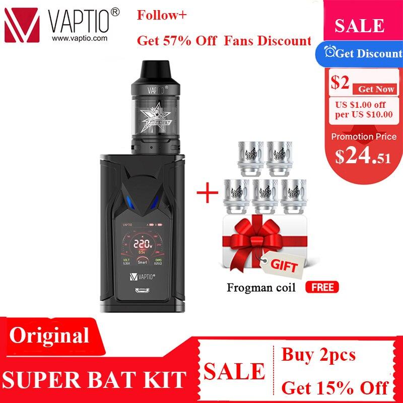 Cadeau bobines 5 pièces! VAPTIO SUPER BAT 220W Vape Kit Cigarettes électroniques 220W boîte MOD 2.0/5.0ml réservoir Vape Mod pas de batterie