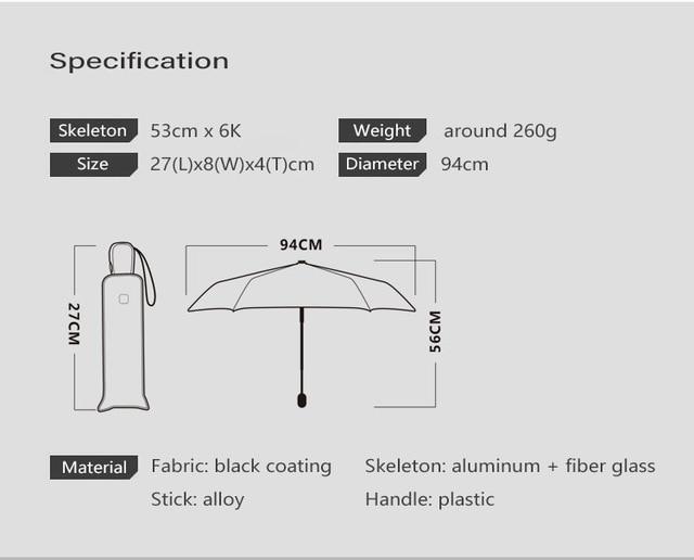 Xiaomi Flat Automatic Umbrella Rain Women Ultralight Travel Sun Umbrella Girls Anti UV Portable Folding Umbrellas 6 Ribs Parasol 3