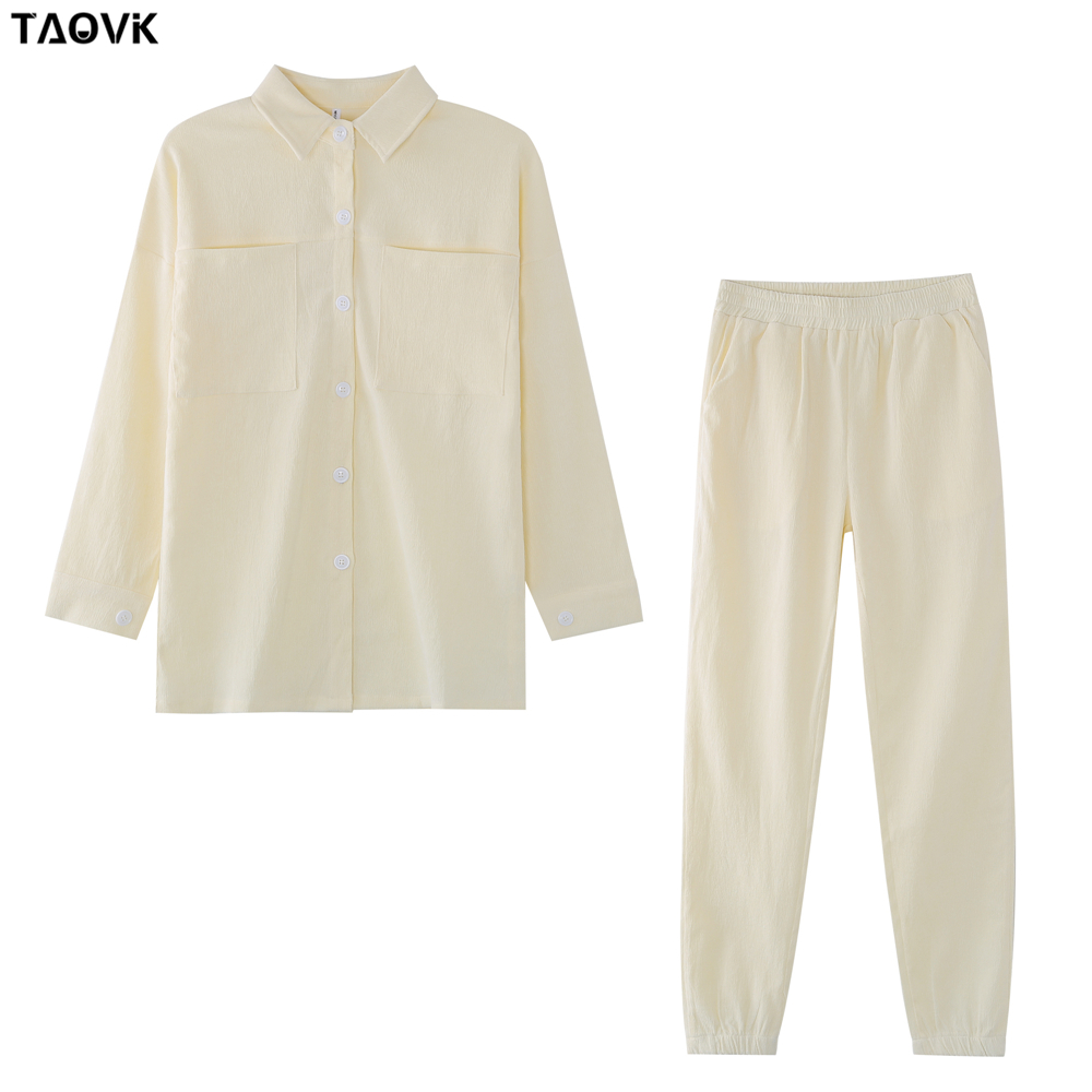 TAOVK Women's tracksuit corduroy  Pinstripe Single-breasted pocket Tops and pants women suits 9