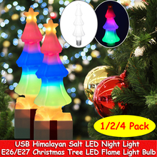 4Pack Christmas Flame Light Bulbs E26/E27 LED RGB LED Bulb Himalayan Salt Night Light Decor for Home Party Festival Holiday D35
