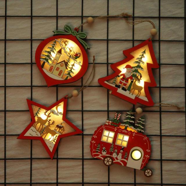 Creative Led Light Christmas Tree Hanging Pendant Star Car Heart Wooden Ornament Decoration Shine Romantic New Year Ornaments 12