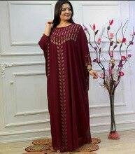 New African Dashiki Women's Fashion Abaya Stylish Chiffon Fabrics Hot Drilling Loose Long Dress Free Size + Inside & Scarf