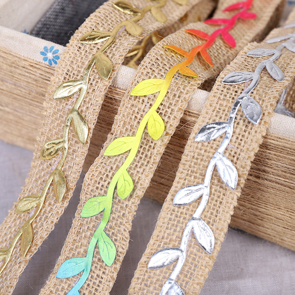 25mm Hemp Ribbon Flower Flat Braided Leaves Rope DIY Florist Bouquet For Gift Boxes Decor Materials 2M/roll