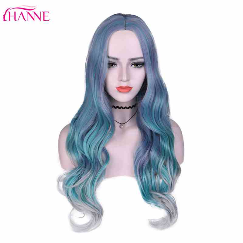 HANNE Ombre Synthetic Wigs High Temperature Fiber Green Grey Middle Part Long Wavy Wigs For Black/White Women Cosplay/Party