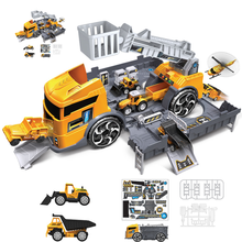 Kids Car Model Toy Set Inertial Car Vehicles Carrier Truck Engineering Cars Toys Simulation Engineering Truck Children Xmas Gift