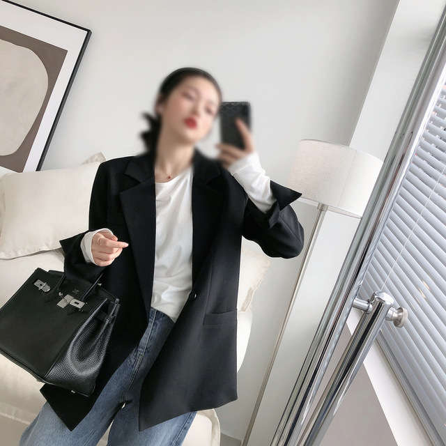 Automne couleur unie élégant bleu Blazer femmes veste femmes Style coréen lâche col en v à manches longues Cardigan 4