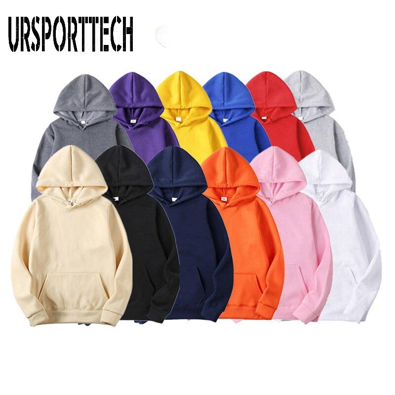 URSPORTTECH Brand Men Hoodies 2020 Spring Autumn Male Hip Hop Streetwear Men Pullover Sweatshirts Hoodies Men Solid Color Hoodie