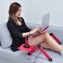 Soporte ajustable del ordenador portátil para la cama portátil lap escritorio plegable portátil estación de trabajo portátil riser con el lado del mouse pad lado ergonómico de la bandeja de la computadora que abre la p
