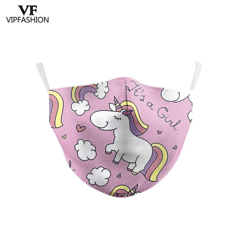 VIP FASHION Children's Baby Polyester Cute Cartoon Unicorn Printed Face Mask Washable Protective Dust-Proof Anti-Fog Mouth Cover