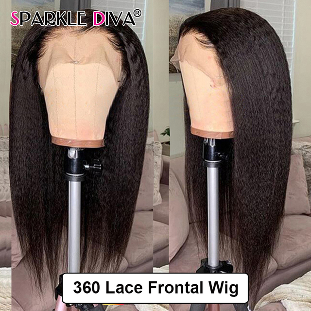360 Lace Frontal Wig Kinky Straight Lace Wig Brazilian Human Hair Wigs 150% Density Remy Lace Front Human Hair Wigs For Women